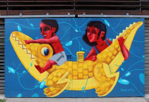 Murals by Boris Biberdzic seen at Piscine Ouverte Maisonneuve, Montréal - Pool Time