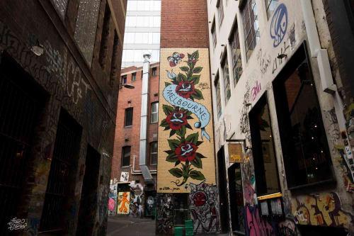 Street Murals by Steen Jones seen at AC/DC Lane, Melbourne - Melbourne Mural