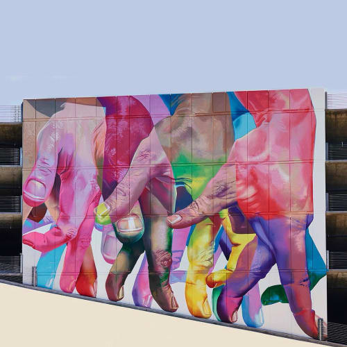 Street Murals by Case Maclaim seen at Playa Vista, Los Angeles, Los Angeles - Untitled (Walking Fingers)