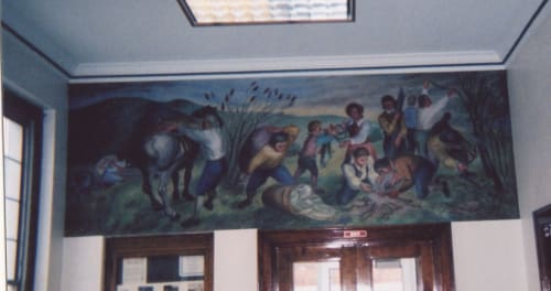 Murals by Axel Horn seen at United States Postal Service - Whitehall, New York - Settlement of Skenesborough