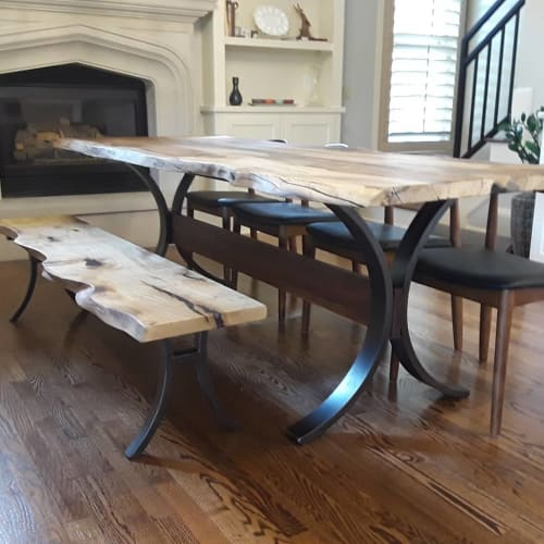 Tables by City Wood seen at Private Residence, Memphis - Table and Bench Set