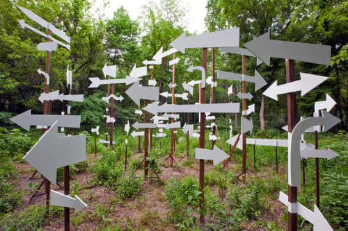 Public Sculptures by Kim Beck seen at 100 Acres: The Virginia B. Fairbanks Art and Nature Park, Indianapolis - NOTICE: A Flock of Signs