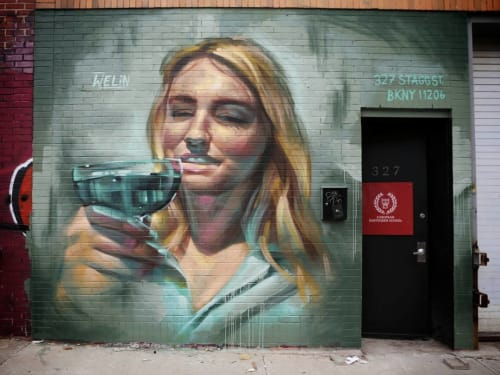 Street Murals by Andreas Welin seen at 327 Stagg Street, BKNY, Brooklyn - Female Mural Portrait