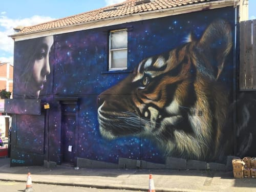 Street Murals by Kin Dose seen at The Old Bookshop, Bristol - Mural
