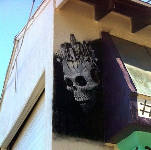 Murals by Brian Lopez Santos seen at Mercado Hollywood, Los Angeles - Skull Mural