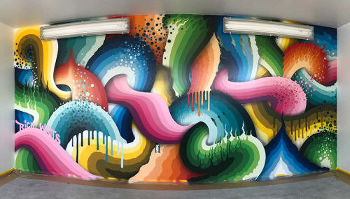 Murals by Ricky Watts seen at YouTube, LLC, San Bruno - Interior Mural