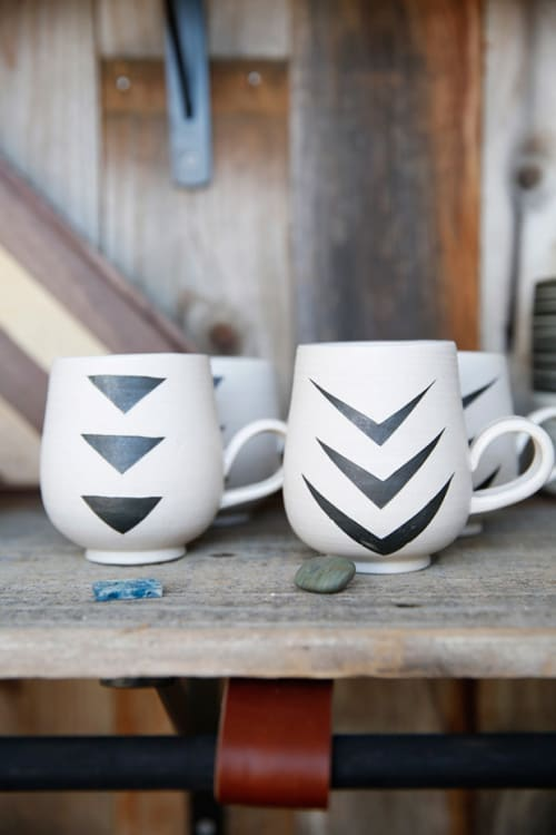 Tableware by Mel Rice Ceramica seen at Microshop, San Francisco - Double Sided Handled Black Chevron Mug