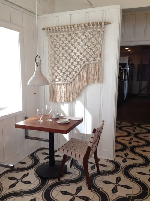 Macrame Wall Hanging by Sally England seen at Malibu Farm Pier Cafe, Malibu - Malibu Pier Macrame