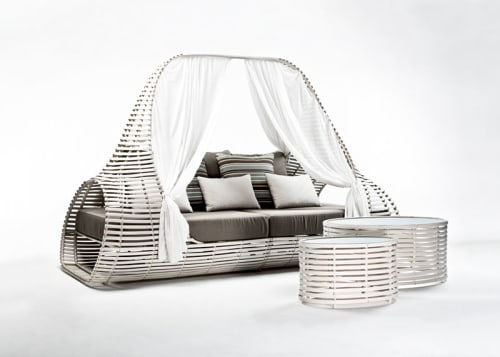 Couches & Sofas by Kenneth Cobonpue at Theros Wave Bar, Santorini, Greece, santorini - Lolah Daybed and Coffee Table