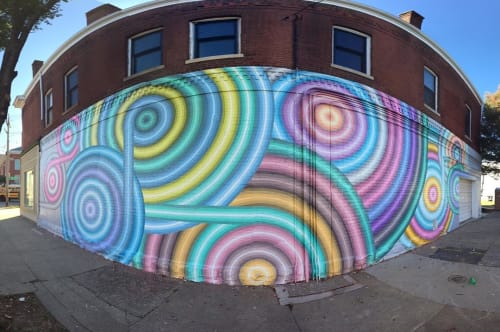 Street Murals by Gibbs Rounsavall Artist seen at Scarlet's Bakery, Louisville - Sunshine and Shadow
