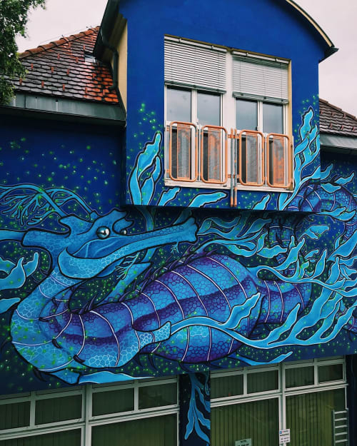 Murals by Frankie Strand seen at Private Residence, Gleisdorf - Leafy Sea Dragon Mural