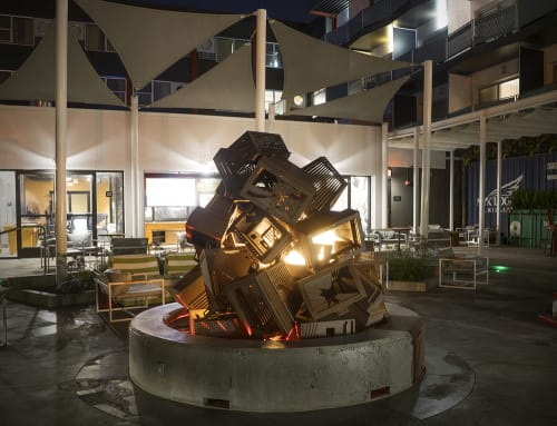 Sculptures by Charles Gadeken seen at Hotel Zephyr, San Francisco - CRASH a fireplace sculpture