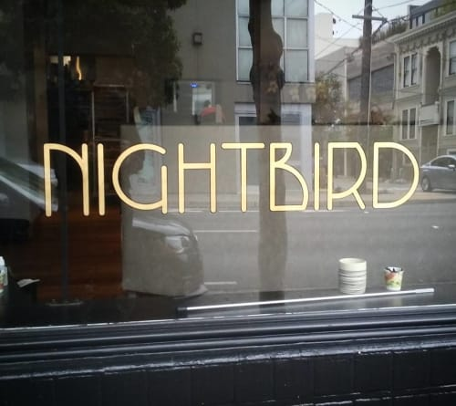 Signage by Gentleman Scholar Signs seen at Nightbird, San Francisco - Gilded Sign