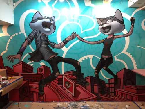 Murals by John Park seen at Ramen Roll - Culver City, Culver City - Crazy Cats 2017