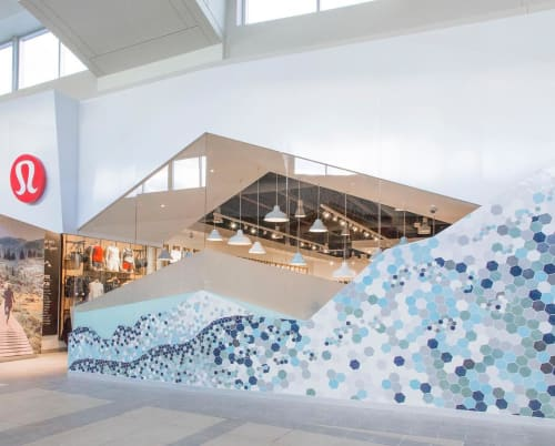 Tiles by Mercury Mosaics seen at lululemon - CF Market Mall, Calgary - Hexagon Tiles Design in collaboration with Mercedes Austin
