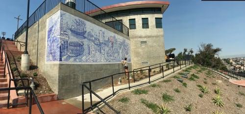 """Murals by Sandow Birk + Elyse Pignolet seen at Gaffey Street Pool, San Pedro, California, Los Angeles - """"San Pedro"""" by Elyse Pignolet"""