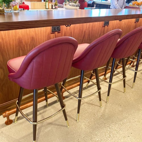 Chairs by Richardson Seating Corporation seen at Hayden Hall, Chicago - Channeled King Bar Stools