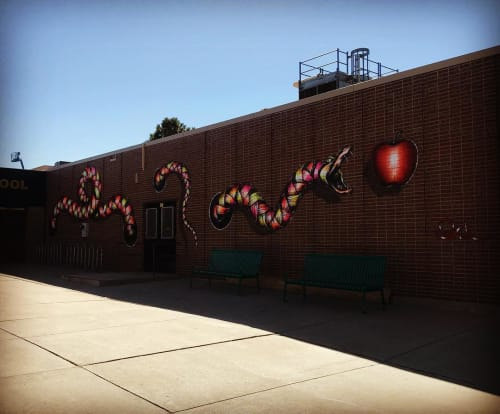 Murals by Otto Schade seen at Cheltenham Elementary School, Denver - Vegetarian Cromosómic Snake