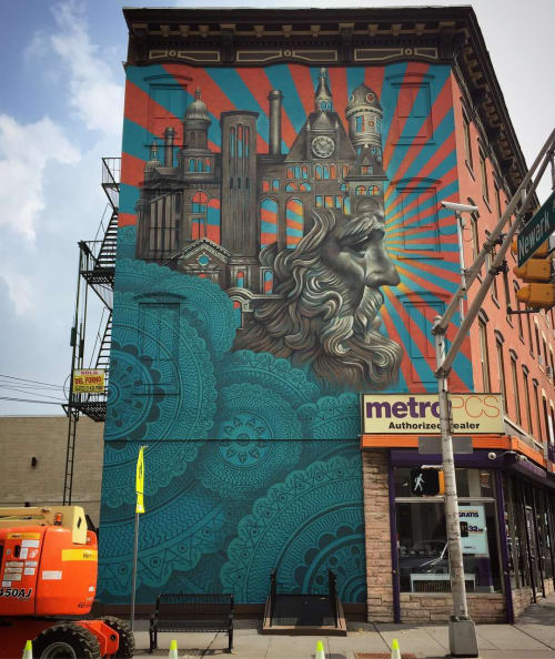 Street Murals by Beau Stanton seen at 264 Newark Ave, Jersey City - Iconic Jersey City Buildings