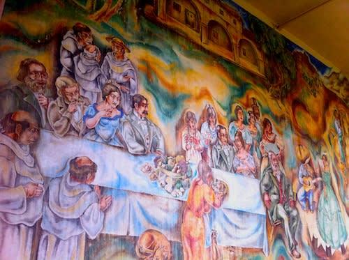 Murals by Charles Kassler seen at Fullerton Union High School, Fullerton - Pastoral California