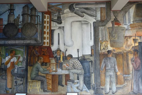 Murals by Ralph W. Stackpole seen at Coit Tower, San Francisco - Industries of California