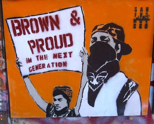 Street Murals by Melanie Cervantes seen at 2050 Bryant St, Mission District, San Francisco - Brown and Proud