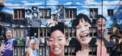 Street Murals by Darryl Mar seen at Stockton Street, Chinatown, SF, San Francisco - Ping Yuen Mural