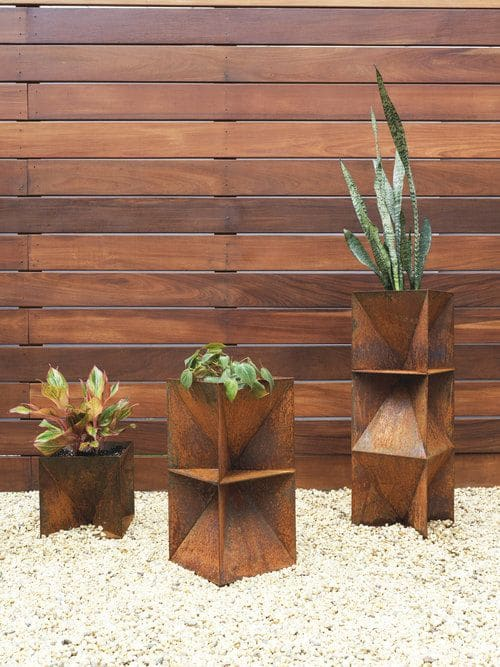 Vases & Vessels by Trey Jones Studio seen at Private Residence - Brooklyn, NY, Brooklyn - Origami Planter - Weathering Steel