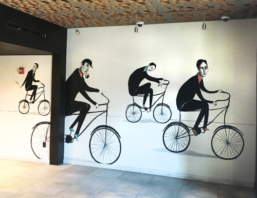 "Murals by Mike Stilkey seen at iPic Theaters, Intracoastal Mall, Miami, North Miami Beach - ""Tour De France, 1939"" mural"