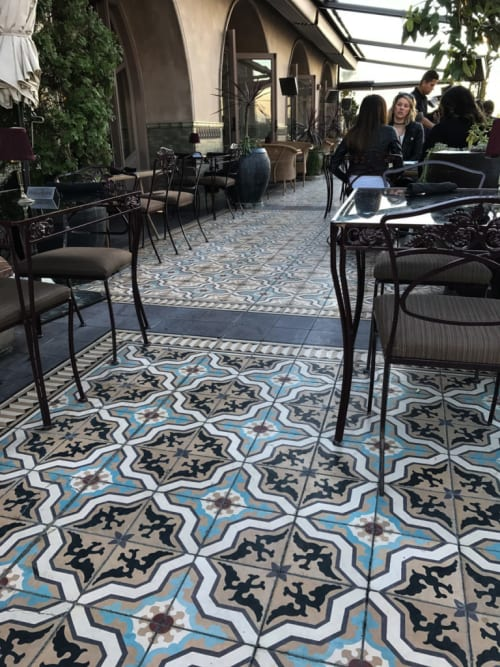 Tiles by Avente Tile seen at Perch, Los Angeles - Mission Cement Tiles