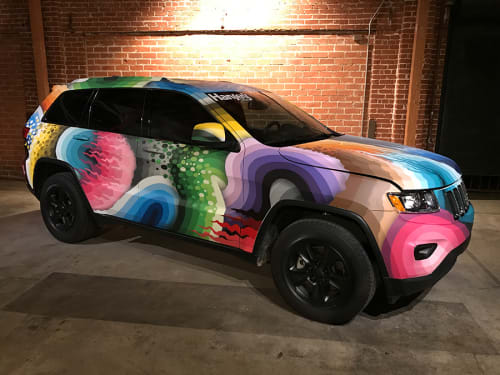 Murals by Ricky Watts seen at Hansen's Natural Soda, Los Angeles - Custom Painted Jeep Grand Cherokee