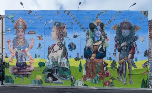 Street Murals by John Vochatzer seen at Olive Street, San Francisco, CA, San Francisco - Multi-media Collage Mural