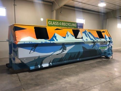 Street Murals by Josh Scheuerman seen at Salt Lake City, Salt Lake City - Recycle Glass Bin Mural