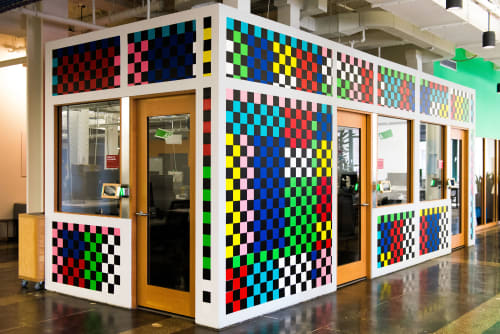 Murals by Robert Otto Epstein seen at Facebook, New York, Astor Place, New York - Building Blocks