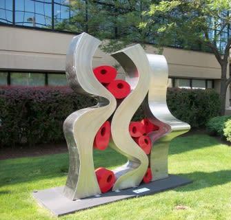 Public Sculptures by CJRDesign seen at Stamford, Stamford - Caught Up II