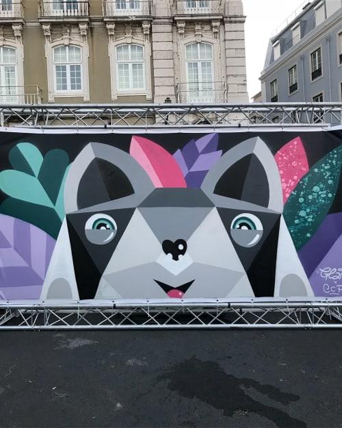 Street Murals by Catarina Glam seen at Mercado de Santa Clara, Lisboa - Mural