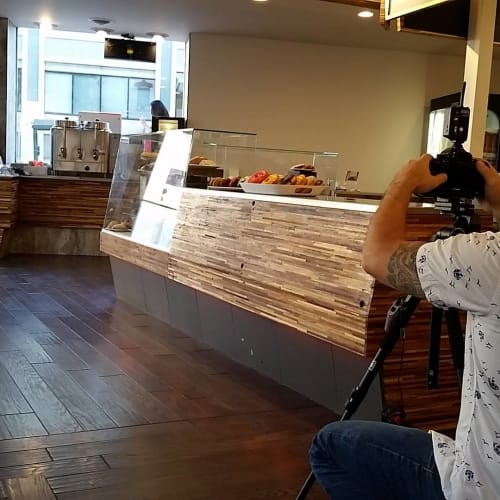 Wall Treatments by Wane + Flitch seen at Original House of Donuts, Lakewood - Thick Veneer