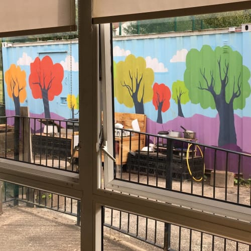 Street Murals by Kate George Design seen at Molendinar Family Learning Center, Glasgow - Mural