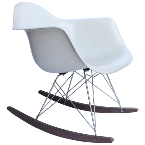 Chairs by Charles and Ray Eames seen at 20 SPOT, San Francisco - Eames Molded Plastic Armchair Rocker