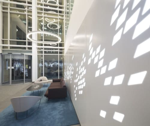 Pendants by KSLD | EFLA Lighting Design seen at 180 West George Street, Glasgow - High Ceiling Atrium Lighting