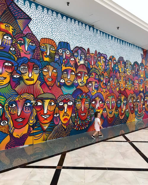 Murals by Guilherme Kramer seen at Shopping Eldorado, Pinheiros - Mural