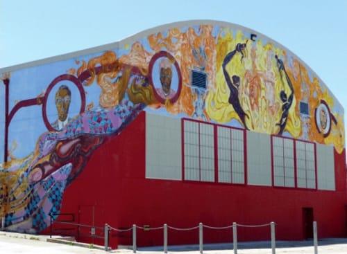 Murals by Dewey Crumpler seen at Joseph Lee Recreation Center, San Francisco - The Fire Next Time II