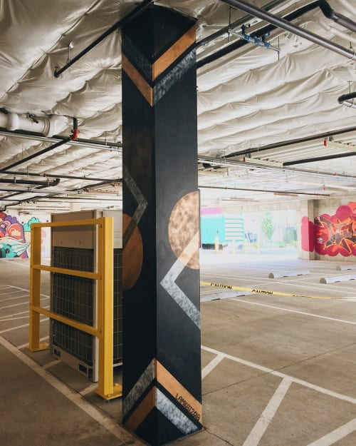 Street Murals by LAMKAT seen at Old Taylor Electric Supply Co Building, Portland - Geometric Pole Mural