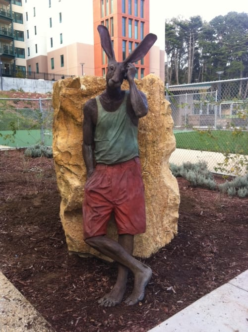 Sculptures by Gerald Heffernon seen at Laguna Honda Hospital and Rehabilitation Center, San Francisco - Rabbinoid on Cell Phone