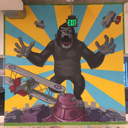 Murals by John Park seen at Universal Music Group-Santa Monica,CA, Santa Monica - Metallica Kong 2017