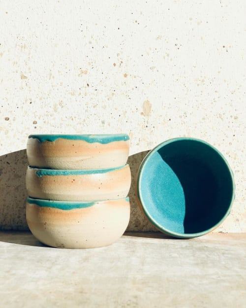 Tableware by Daša's Pottery seen at Private Residence, Melbourne - Bowls in Turquoise
