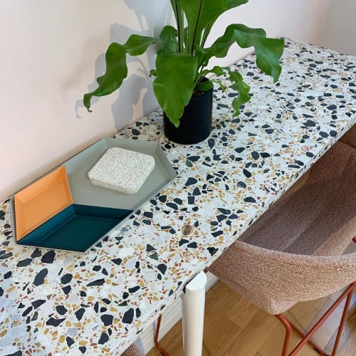 Tiles by concrete collaborative seen at Maven Clinic, New York - Alabaster Retro Mix Terrazzo Tops