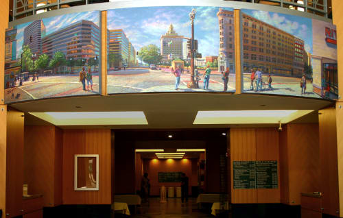 Street Murals by Anthony Holdsworth Studio Gallery seen at 250 Frank H. Ogawa Plaza, Oakland - Civic Center viewed from Broadway in Downtown Oakland