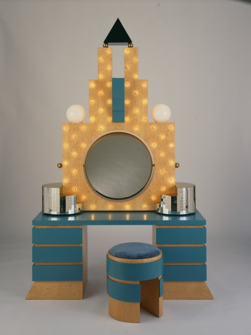 Sculptures by Michael Graves seen at Art of The Americas Building, Los Angeles - 'Plaza' Dressing Table and Stool