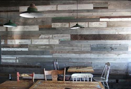 Wall Treatments by Ariele Alasko seen at Il Vecchio, Pacific Grove - Art Chevron Walls